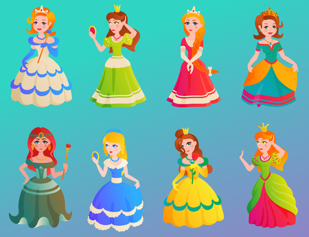 Princess character cute adorble girls different dress vector illustration.