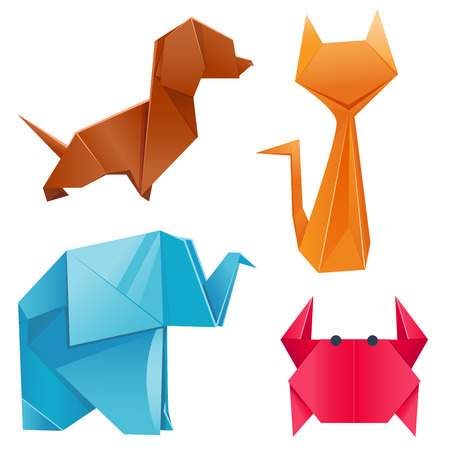 Animals origami set japanese folded modern wildlife hobby abstract symbol creative decoration vector illustration. Geometric nature traditional japan polygon asian toy. Çizim