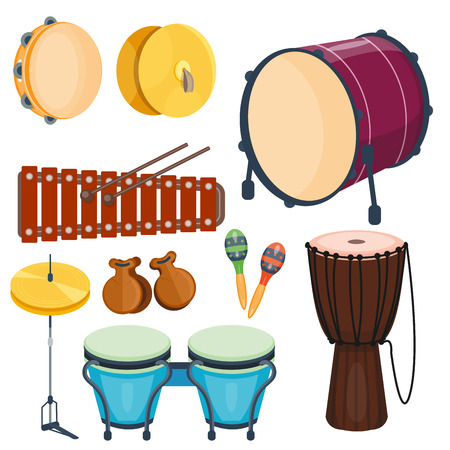 Musical drum wood rhythm music instrument series set of percussion vector illustration Çizim