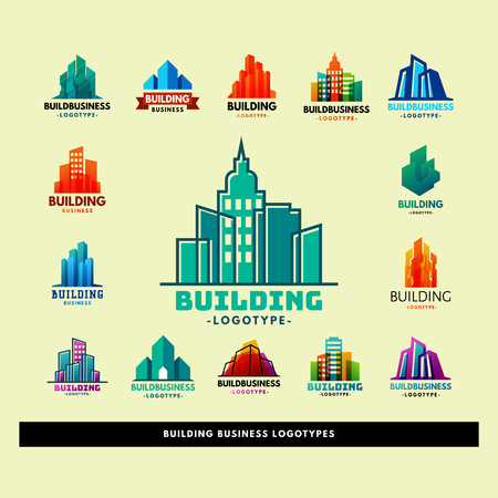 Skyscrapers buildings label tower office city architecture badge house business apartment vector illustration Illustration