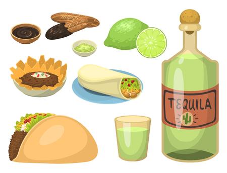 Platos de comida mexicana comida tradicional aislado salsa de almuerzo cocina méxico ilustración vectorial Foto de archivo - 83103745