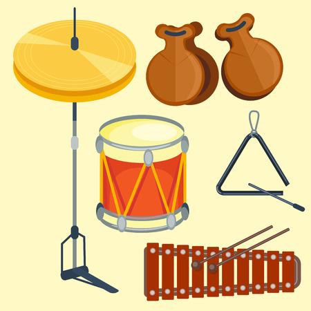 Musical drum wood rhythm music instrument series set of percussion vector illustration Illustration