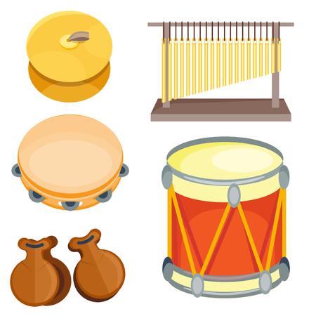 Conjunto de serie de instrumento de música de ritmo de tambor madera musical de ilustración de vector de percusión Foto de archivo - 83104123