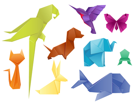 Animals origami set japanese folded modern wildlife hobby symbol creative decoration vector illustration.