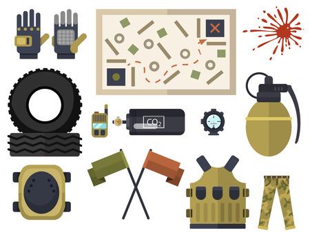 Van de de symbolenpictogrammen van Paintballclub de bescherming eenvormig en van het ontwerpelementen van het sportspel het doel vectorillustratie Stockfoto - 83104102