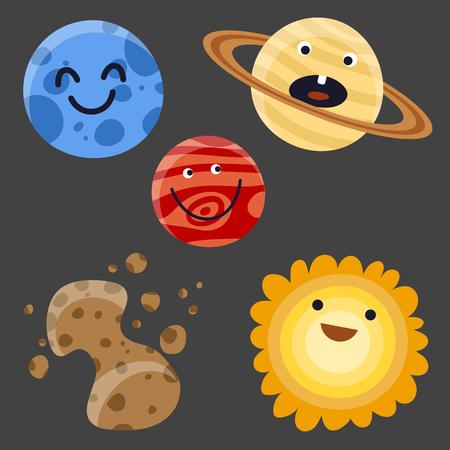 고품질 태양계 우주 공간 행성 우주 우주 천문학 은하 과학 스타 벡터 일러스트 레이 션.