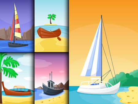 Summer time boat vacation nature tropical beach landscape of paradise island holidays lagoon vector illustration. Illustration