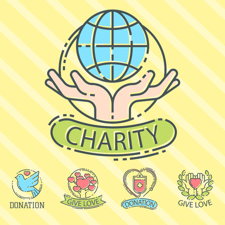 Donate money set logo icons help icon donation contribution charity philanthropy symbols humanity support vector Çizim