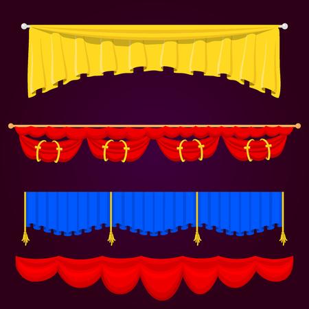 シアター シーン ブラインド カーテン ステージ生地テクスチャ性能インテリア布入り口背景分離ベクトル イラスト