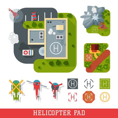Helicopter pad landing ground landing area platform vector top view illustration Ilustração