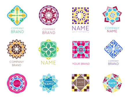 Abstract triangular polygonal shape kaleidoscope geometry company brand logo badge template circle decorative vector icon. Stock Vector - 83103802