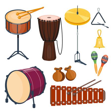 Musical drum wood rhythm music instrument series set of percussion vector illustration Фото со стока
