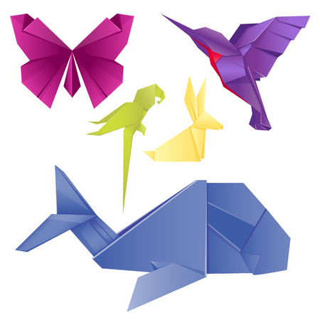 動物折り紙は、日本の折られたモダンな野生動物趣味シンボル創造的な装飾ベクトル図を設定します。