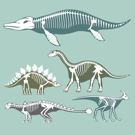 Conjunto de siluetas de esqueletos de dinosaurios.