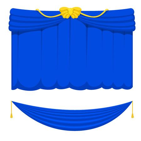 Theater scene blind blauwe gordijn stadium weefsel.