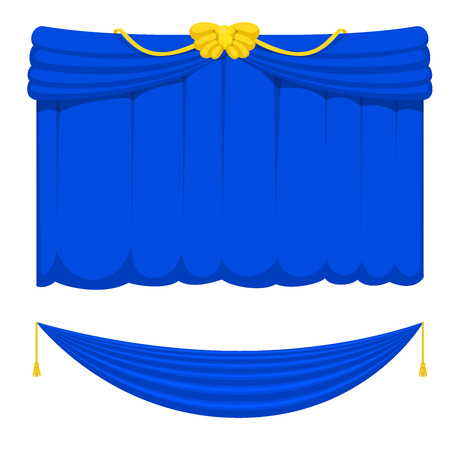 Theater scene blind blue curtain stage fabric.