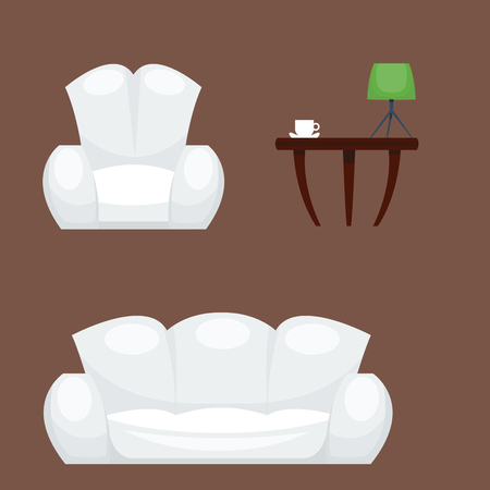 Exclusive sitting furniture bedroom with couch interior room comfortable sofa home relaxation apartment illustration.