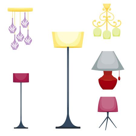 Flat electric lantern lamp lights fitting technology light bulb electricity illustration. Çizim