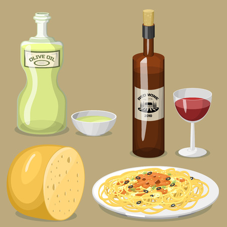 Cartoon Italian food cuisine delicious homemade cooking fresh traditional Italian lunch illustration.