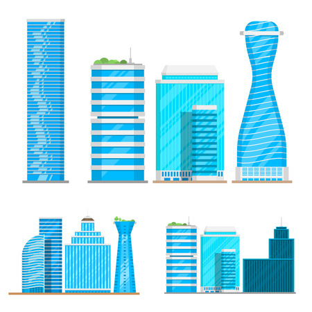 Skyscrapers buildings isolated tower office city architecture house business apartment illustration. Illustration