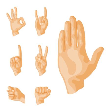 Hands showing deaf-mute different gestures. Ilustração