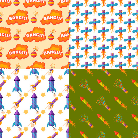 花火花火ロケットとフラッパーの誕生日パーティーの図。  イラスト・ベクター素材