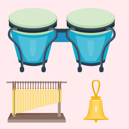 Musical drum wood rhythm music instrument series set of percussion vector illustration.
