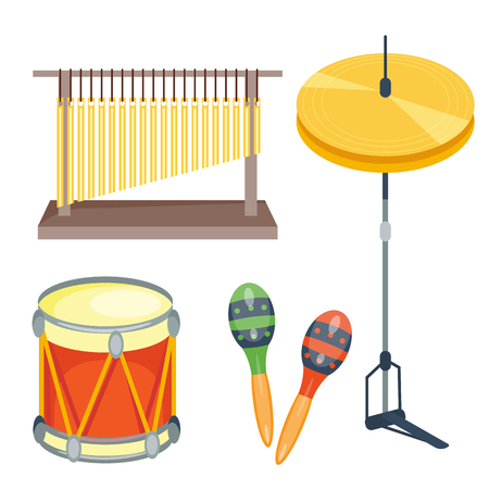 Musical drum wood rhythm music instrument series set of percussion.