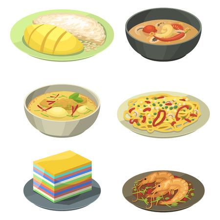 Traditional national Thai food illustration.