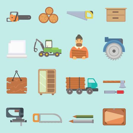 Hout bos lumbering productie iconen vector illustratie. Stock Illustratie