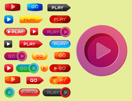 UI interface button play media internet website element online player mark click vector illustration.