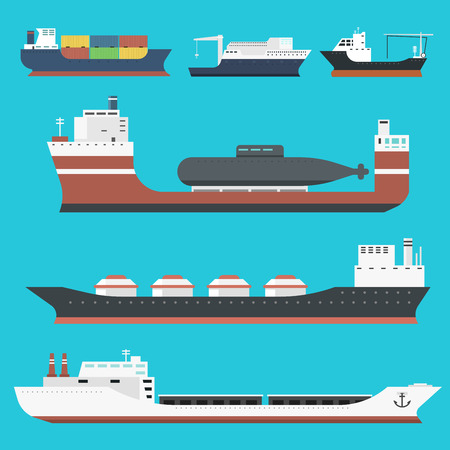 Cargo vessels and tankers shipping delivery bulk carrier train freight boat tankers isolated on background vector illustration Illustration