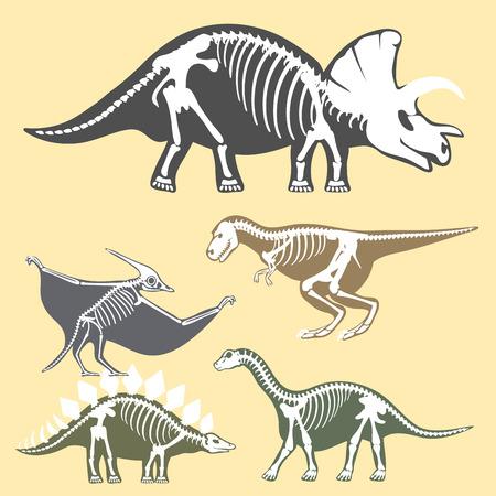 Dinosaurs skeletons silhouettes set fossil bone tyrannosaurus prehistoric animal dino bone vector flat illustration. Illusztráció