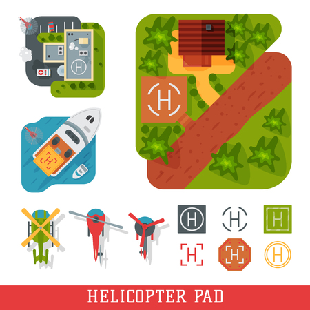 Helicopter pad landing ground landing area platform vector top view illustration Ilustração