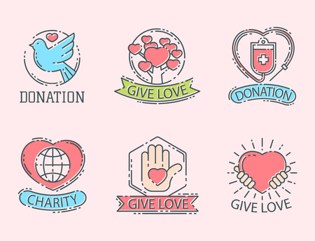 Donate money set log ooutline icons help icon donation contribution charity philanthropy symbols humanity support vector. Contribute design sign give money contribution giving. Illustration