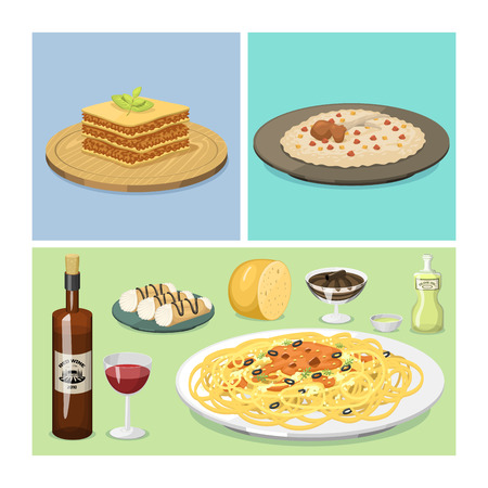 Cartoon Italy food cuisine delicious homemade cooking fresh traditional Italian lunch vector illustration.