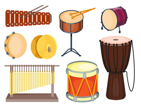 Musical drum wood rhythm music instrument series set of percussion vector illustration Ilustracja