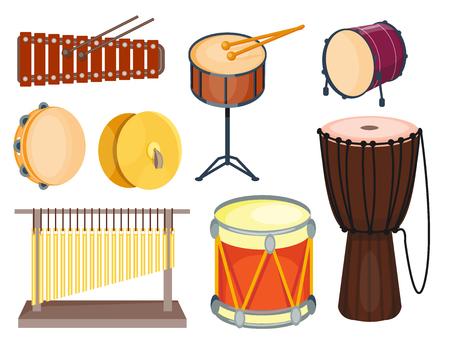 Muzikale drum houten ritme muziekinstrument serie set percussie vector illustratie