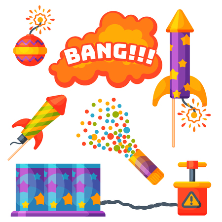 Fireworks pyrotechnics rocket and flapper birthday party gift celebrate vector illustration festival tools Zdjęcie Seryjne - 83253321