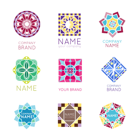 Abstract triangular polygonal shape kaleidoscope geometry company brand logo badge template circle decorative vector icon.. Oriental floral indian round abstraction ethnic mandala vintage motive. Иллюстрация