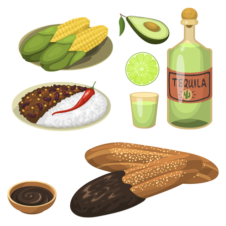 Mexican traditional food meal plates isolated lunch sauce mexico cuisine vector illustration Çizim