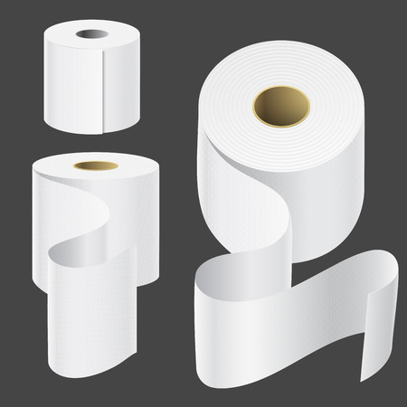 Realistic paper roll mock up set isolated vector illustration blank white 3d packaging kitchen towel template Vectores