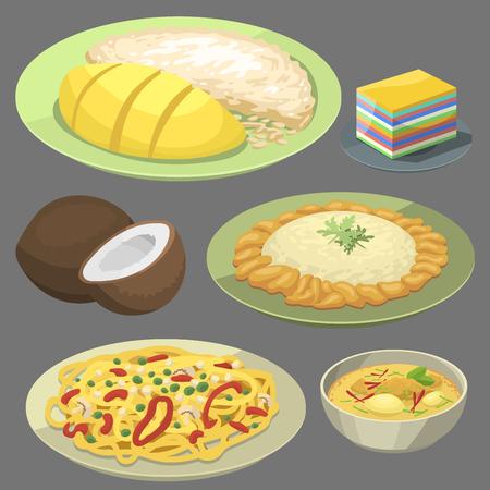 Traditionelle nationale thailändische Nahrung thailand asiatische Platte Küche Meeresfrüchte Garnelen Kochen köstliche Vektor-Illustration. Standard-Bild - 83253329