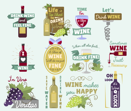 Wine vintage old retro look style logo badge vector illustration