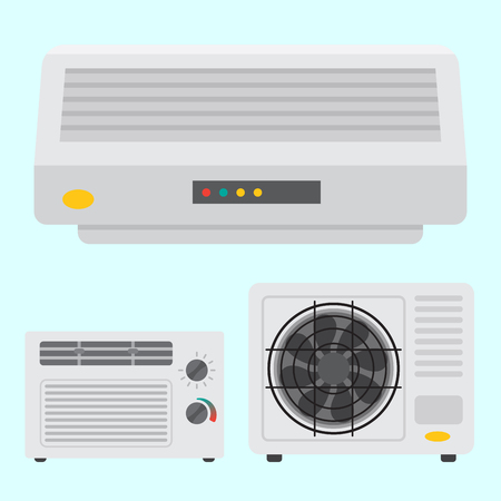 Air conditioner airlock systems equipment ventilator conditioning climate fan technology temperature cool home control vector illustration. Blow acclimatization purifier blowing ventilation appliance. Фото со стока - 83249412