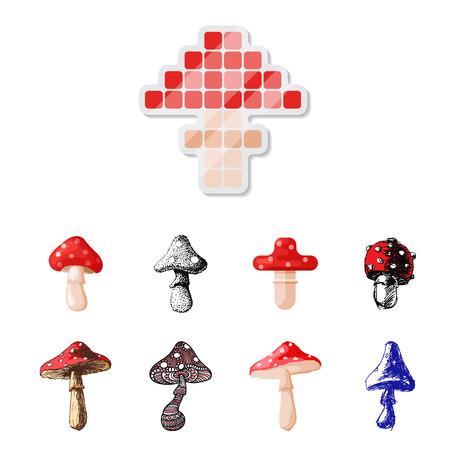 テングタケ属ベニテングタケ毒キノコ キノコ菌さまざまなアート スタイル デザイン ベクトル図の赤い帽子