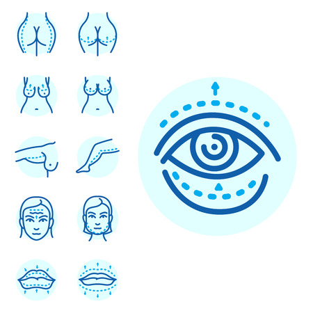 Plastic surgery body parts infographic icons anaplasty medicine skin treatment beauty health procedure vector illustration. Human patient medical surgeon person anatomy.
