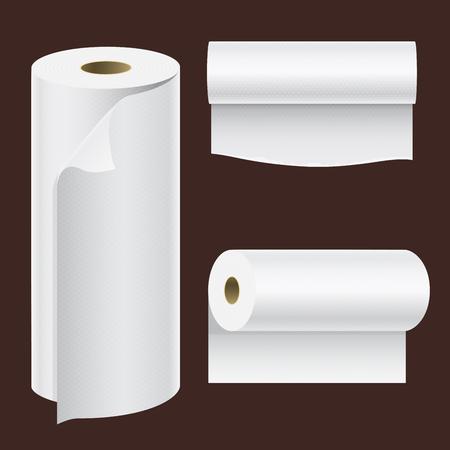 현실적인 종이 롤 모의 집합 고립 된 벡터 일러스트 레이 션 빈 흰색 3d 포장 주방 수건, 화장지 롤, 금전 등록기 테이프, 열 팩스 롤 템플릿