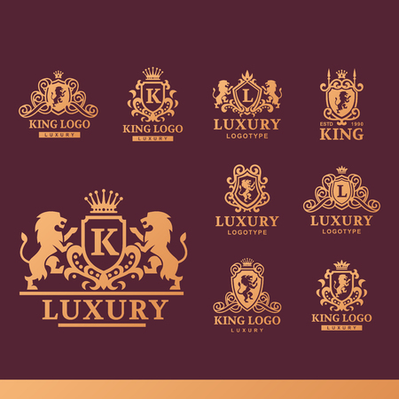 Luxury boutique Royal Crest high quality vintage product heraldry logo collection brand identity vector illustration.