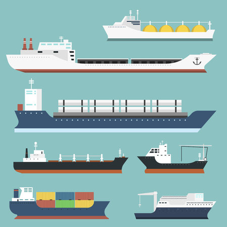 貨物船およびタンカー出荷配送バルク キャリア列車背景ベクトル図に分離された貨物船タンカー